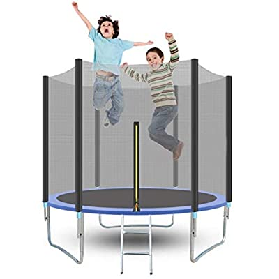 8FT Trampoline with Safety Enclosure Net Jumping Mat and Spring Cover Padding Can Load 442 lbs, for Kids Adults Indoors and Outdoors, Basketball Hoop Trampoline for Great Gift : Sports & Outdoors