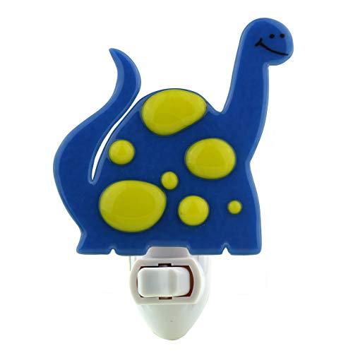 Fused Glass Dinosaur Night Light (Bright Blue)