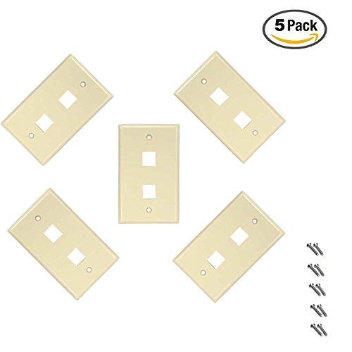 iMBAPrice 2 Port Flush Mount Keystone Jack Wall Plate 1-Gang - Ivory (Pack of (Flush Wall Plate)