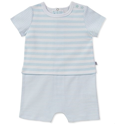 absorba Baby Boys Romper, Light Blue, 0-3 (Baby Boy Light Blue Romper)