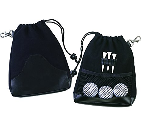 Deluxe Leather Canvas Drawstring Golf Pouch Amenities Dice Ditty Bag-Black