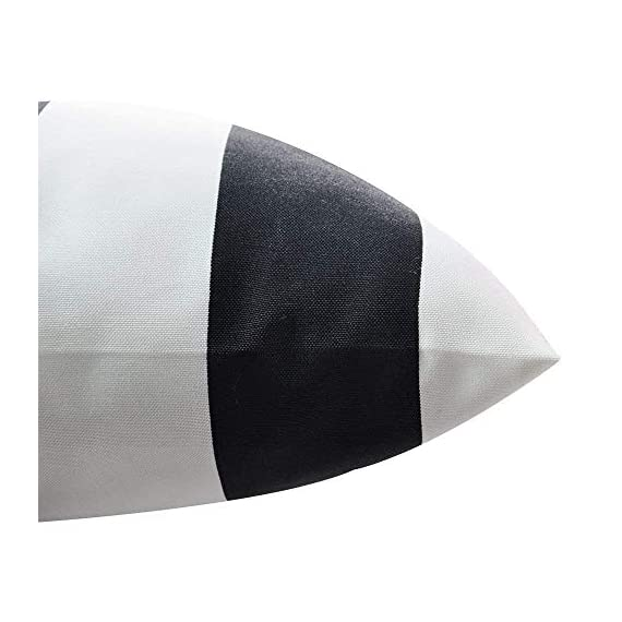 "Pcinfuns Outdoor Decorative Pillows with Insert Black and White Stripe Throw Pillow Covers All Weather Patio Cushions 18"" x 18"" Set of 2 - 100% spun polyester. Set includes two 18""*18"" inch lumbar pillows (insert included), resists weather and fading in sunlight; Suitable for indoor and outdoor use. Each featuring a 100% polyester cover that's resistant to moisture, making the pillows weatherproof and appropriate for patio furniture. The cover has the highest UV and abrasion resistance ratings. - patio, outdoor-throw-pillows, outdoor-decor - 41iSzgg2IFL. SS570  -"
