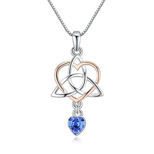 Goddess Rose Necklace (Xingzou Irish Celtic Triquetra Knot Good Luck Love Heart Necklace Pendant for Women,Rose Gold / Silver)