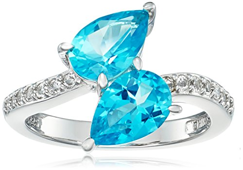 Platinum Plated Sterling Silver Swarovski Paraiba Blue and White Topaz (White Topaz Bypass Ring)