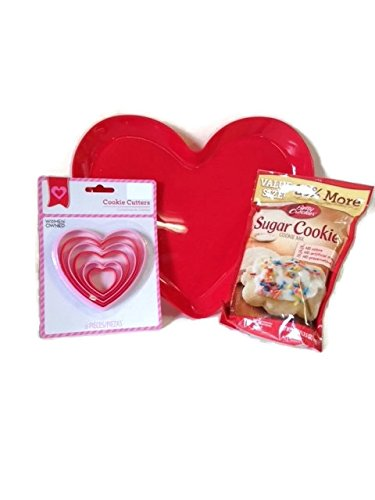 Happy Valentine's Day Baking Bundle- Betty Crocker Sugar Cookies, 6 Assorted Sizes Heart Cookie Cutters, 1 Large Red Heart Plastic Serving (Valentine Sugar Cookies)