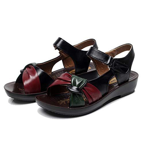 pour chaussures femme de Sandales plage avec Open Summer cuir été en Summer ali confort élégantes Waitfor compensées Bass d'été Toe FxRapnq