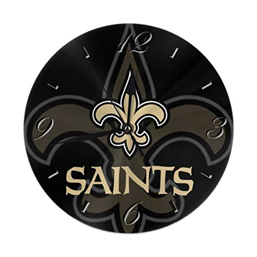(Aoskin New Orleans Saints Silent Non Ticking 9.8 in Quality Quartz Battery Operated Round Easy to Read Home/Office/School Clock)