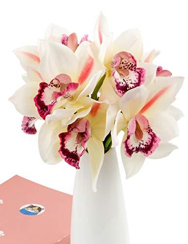 Rinlong White Artificial Orchid Flowers 3pcs Fake Cymbidium Stems for DIY Craft Floral Arrangement Home Wedding Decoration