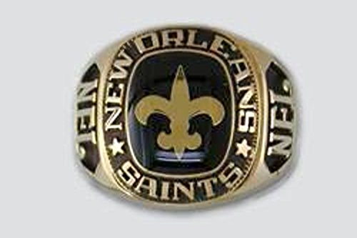 New Orleans Saints Large Classic Ring, Size 11 Goldplated