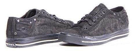 Diesel Exposure I Noir Hommes Canvas Low Formateurs Chaussures