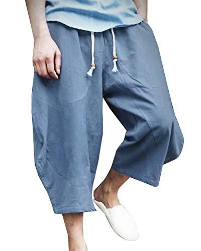 Hx Con Lino Fashion Spiaggia Comode Taglie Uomo Blau Di Larghi Abiti Da Grau In Casual Elastico Coulisse Pantaloni Vita 6rRSwqg6