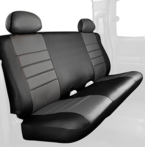 Fia SL62-40 GRAY Custom Fit Rear Seat Cover Bench Seat - Leatherette (Black w/Gray Center Panel)