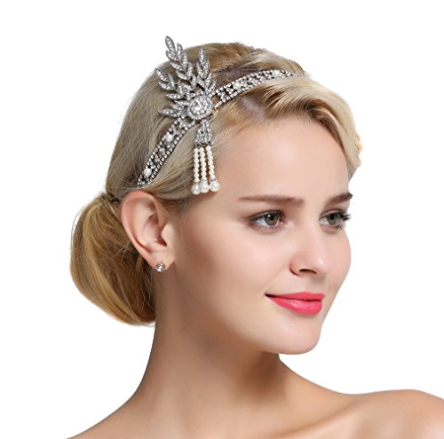 FAIRY COUPLE Art Deco 1920s Flapper Great Gatsby Leaf Bridal Tiara Pearl Headpiece Headband -