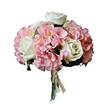 Hand Tie Artificial Silk Flowers Bounquet with 4 Heads Hydrangea and 5 Heads Rose,Bridal Wedding(Light Pink Hydrangea+White Rose, Pack of 1 )