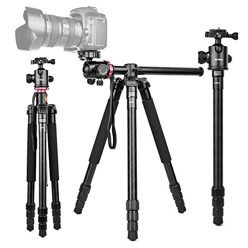 "360°Horizontal Rotation Professional Travel Camera Tripod, Portable Projector Stand with 360°Panorama Ball Head,1/4"" Quick Release Plate and Bubble Level for Canon Nikon Sony Olympus Fuji Projector D"