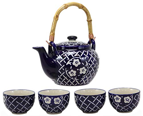 Cherry Blossom Floral Porcelain - Ebros Gift Colorful Large Botanic Floral Blossoms Design Japanese Sakura Cherry Blossoms Porcelain 25oz Tea Pot With 4 Cups Service Set With Strainer As Teapots And Teacups Home Decor