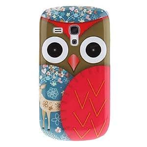 hello Cartoon Cute Owl Bird Design Plastic Hard Case Back Cover for Samsung Galaxy S3 Mini I8190 , Green