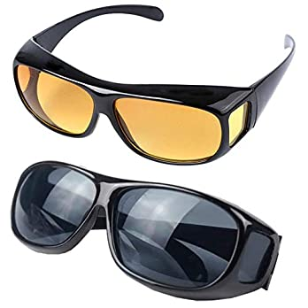 Suhav HD Night Day Vision Car Driving Wrap Around Anti Glare Sunglasses with Polarized Lens for Man and Women (Black and Yellow)