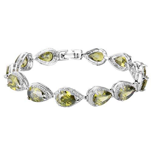 EVER FAITH Women's Prong CZ August Birthstone Teardrop Tennis Bracelet Peridot Color Silver-Tone