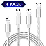 iPhone Charger, 4 Pack(3/6/6/10 FT) Extra Long Nylon Braided Charging&Syncing Cord Compatible with iPhone Xs/XR/XS Max/X/7/7Plus/8/8Plus/6S/6S Plus/5C More Silver&White