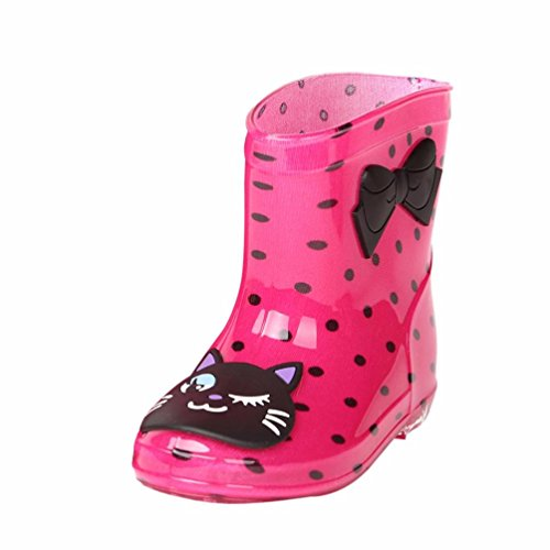 Waterproof Child Rubber Cute Rain Boots, Weiyun Unisex Baby Kids Girls Boys Happy Face Bowknot/Star Der Anti-Slip Soild Infant Cute Rain Shoes (2.5~5T) (Hot Pink, US:8.5(Age:3-4T)) (In Der Hook)
