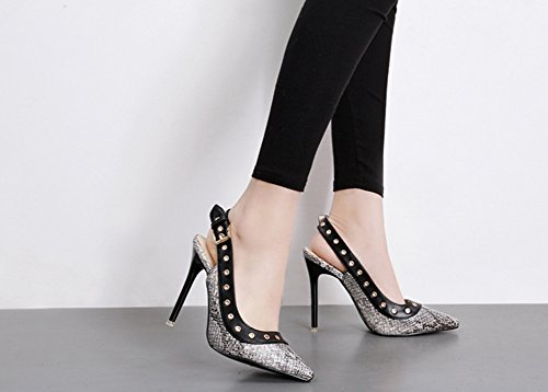 Aisun Geschlossen Damen Stiletto Spitz Sexy Zehen Sandale Schlangenmuster mit Schwarz Slingback Schnalle TTXqdr
