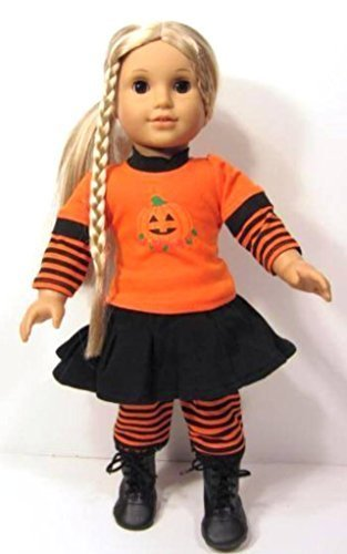 [PUMPKIN Halloween Outfit Costume Fits American Girl Doll or 18 Inch Dolls] (Doll Halloween Outfit)