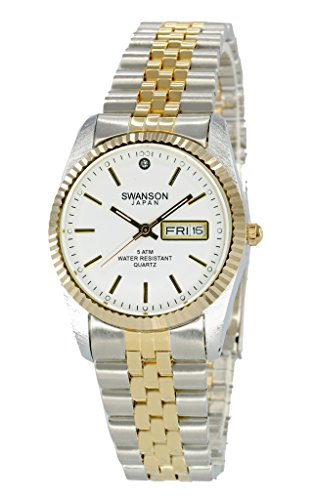 Swanson Japan Men's Two-Tone Day-Date Watch White Dial with Travel Case by Swanson Japan