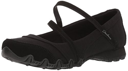 Skechers Women's Bikers -Fiesta Mary Jane Flat,8 M US,Black (Womens Jane Mary Black)