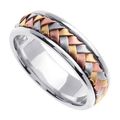 Tri Color Braided Wedding Ring for Men (7mm) Size 13 (Wedding 7mm Band Braided Hand)