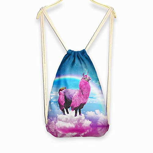 DJDesigns 3D Custom Printed Fully Adjustable Drawstring Tote Bag Various Designs (Llammacorn) by DJDesigns