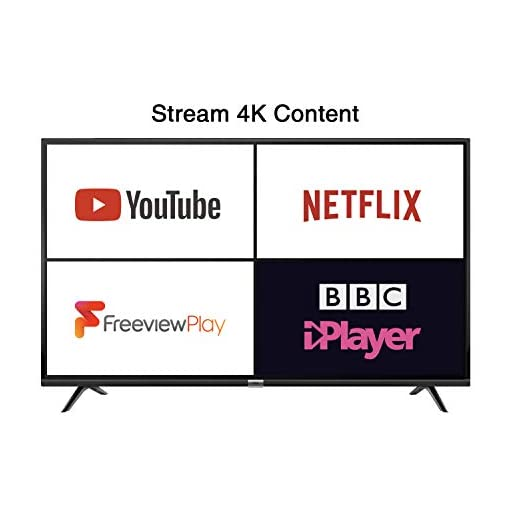 TCL 55DP628 55-Inch 4K LED Ultra HD Smart TV – HDR10 / Freeview Play / BBC iPlayer / Netflix 4K / YouTube 4K, Work with…