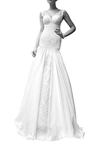 Dreamdress V Backless Women's Wedding Ball Mermaid Ivory Dress Lace Neck Gown FIRFqrw