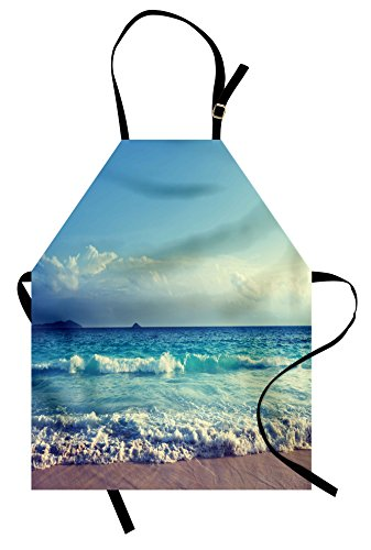 Ambesonne Tropical Island Apron, Ocean Waves on Seychelles Beach at The Sunset Time Skyline, Unisex Kitchen Bib Apron with Adjustable Neck for Cooking Baking Gardening, Turquoise Sky Blue Umber ()