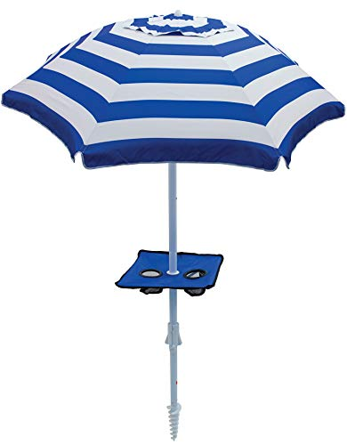 Rio Beach 8 ft. Tilt Beach Umbrella with Built-in Table and Sand Anchor ()