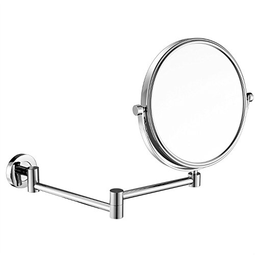 10X Magnifying Mirror,8 Wall mounted vanity cosmetic mirror,two-sided 360 swivel bathroom makeup mirror with 11.5inch adjustable extension,Polished Chrome Finshed