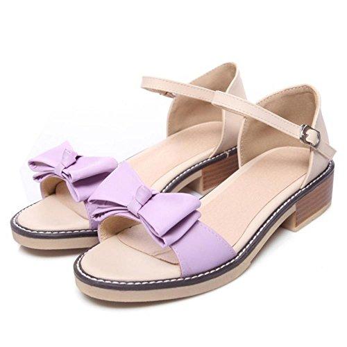 Bowknot Sandales JOJONUNU Femmes purple Bloc Talons qtpz1wUI
