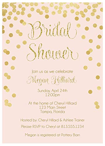 Brunch and Bubbly Bridal Shower Invitations Confetti Wedding Party Invites Brunch and Baby Sprinkle Rehearsal Dinner Customize Cards Champagne Silver Pink Gold Golden Glitter (10 Count) ()
