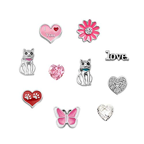 - Q&Locket 10pcs Heart Love Cat Floating Charms For Glass Living Memory Lockets Necklace & Bracelets