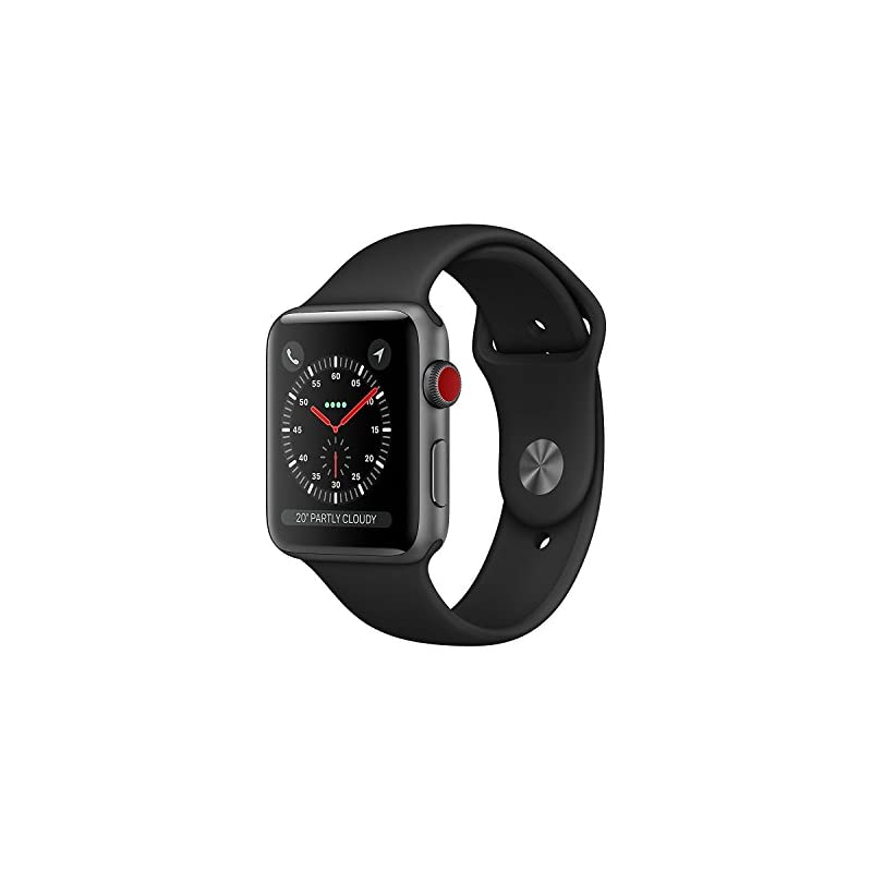 Apple Watch Series 3 38MM Smartwatch (GPS + Cellular 4G LTE) - Space Gray Aluminum Case, Black Sport Band (Refurbished)