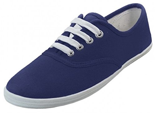 WOMENS NAVY FLAT CANVAS SHOE LACED SNEAKERS S324L (11) (Sneakers Womes)