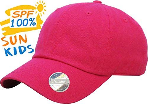 - KBC-13LOW HPK (2-5) Kids Boys Girls Hats Washed Low Profile Cotton and Denim Plain Baseball Cap Hat Unisex Headwear