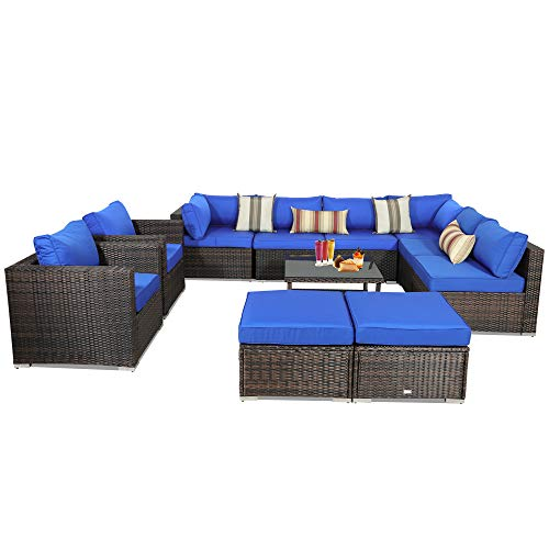 Leaptime Patio Rattan Sofa 11-Piece Outdoor Wicker Furniture Outside Conversation Couch Deck Seating Brown Rattan Royal Blue Cushion