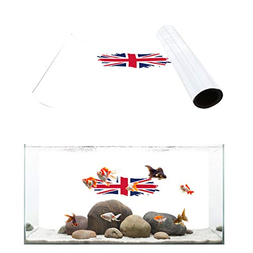 Libaoge UK Flag Aquarium Background, Red White and Blue Fish Tank Background Decoration PVC Sticker Wallpaper Photo Adhesive Paper Poster Backdrop 48.8
