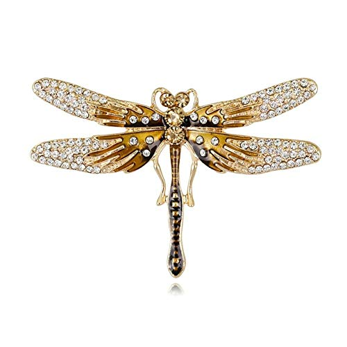 Fashionable Unisex Alloy Dragonfly Brooch Shiny Rhinestones Pin Accessories (Color - Blue)