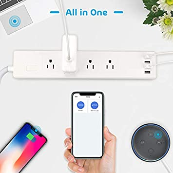 Smart Power Strip WiFi Surge Protector Power Bar by Meross, Alexa Google Home IFTTT Supported, Remote Control, 4 AC Multi Outlets and 4 USB Ports