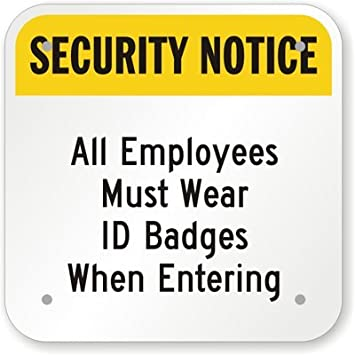 amazon com security notice all employees must wear id badges when