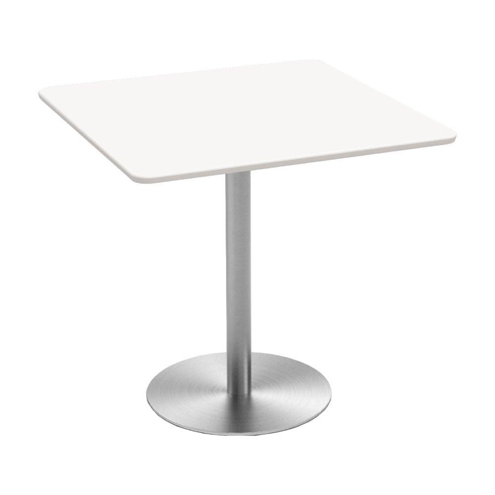 カフェテーブル □天板 ステンレス ○脚 (幅750mm, ホワイト) B0753VPMF1 幅750mm ホワイト ホワイト 幅750mm