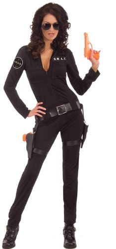 Female Cop Costume Halloween (Forum Novelties Women's Swat Sexy Woman Of Action Costume, Black, X-Small/Small)
