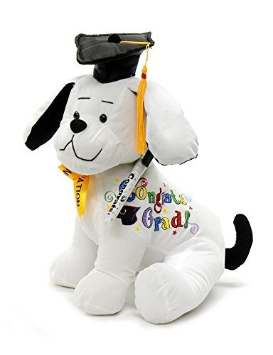 """Graduation Autograph Dog With Pen, Black Hat - Congrats Grad! - Multiple Sitting Sizes to Choice - Hound Dog Gift Toys for Graduate Student Party (10.5""""H- Medium)"""